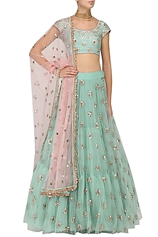 Sea Green Sequins Embroidered Lehenga and Blouse Set by Mrunalini Rao