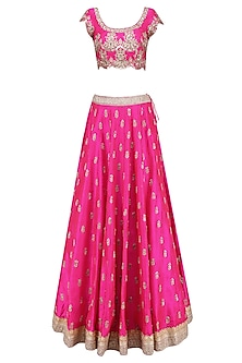 Pink Floral Bootis Embroidered Lehenga Set with Light Pinkdupatta by Mrunalini Rao