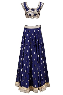 Navy Blue Floral Bootis Sequins Embroidered Lehenga Set with Aqua Blue Dupatta by Mrunalini Rao