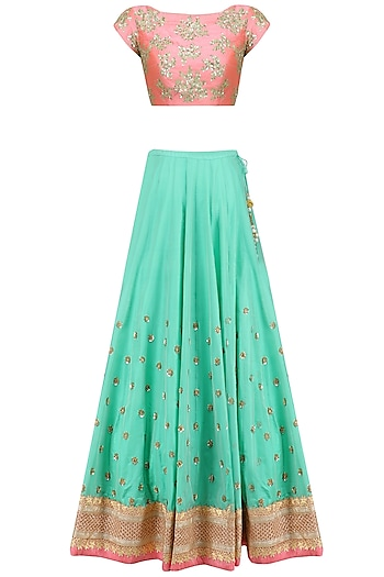 Sea Green Floral Bootis Embroidered Lehenga Set with Peach Dupatta by Mrunalini Rao
