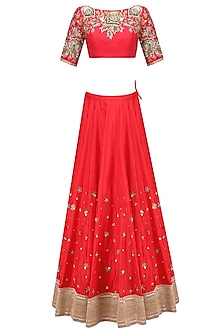 Red Floral Zardozi Embroidered Lehenga Set with Off White Dupatta by Mrunalini Rao