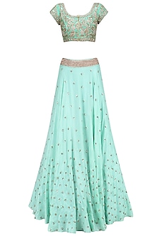 Aqua Blue Floral Sequins Embroidered Lehenga Set with Baby Pink Dupatta by Mrunalini Rao