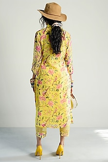 Yellow Printed & Embroidered Kurta With Pants by Rishi & Vibhuti Pret