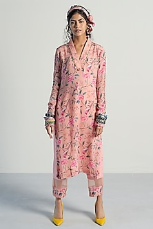 Peach Printed & Embroidered Kurta With Pants by Rishi & Vibhuti Pret