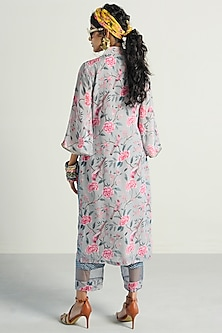 Grey Printed & Embroidered Kurta With Pants by Rishi & Vibhuti Pret