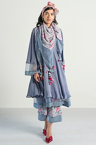 Grey Printed Anarkali Set by Rishi & Vibhuti Pret
