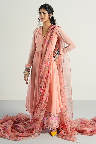 Peach Floral Printed Anarkali Set by Rishi & Vibhuti Pret