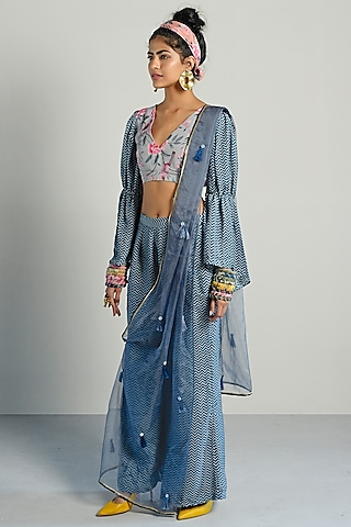 Grey Printed Top With Pants & Drape by Rishi & Vibhuti Pret
