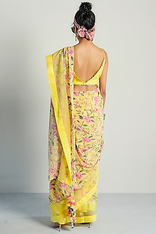 Yellow Printed Saree Set by Rishi & Vibhuti Pret