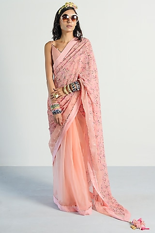 Peach Printed Saree Set by Rishi & Vibhuti Pret