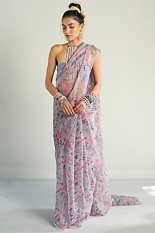 Grey Printed Sheer Saree Set by Rishi & Vibhuti Pret