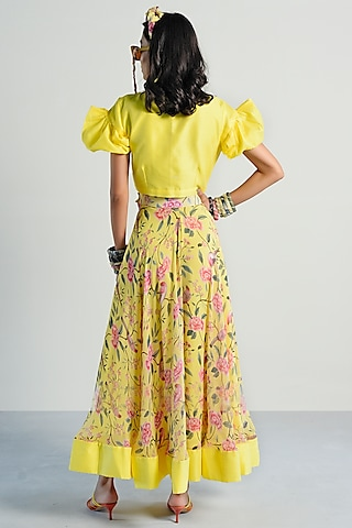 Yellow Printed Skirt Set by Rishi & Vibhuti Pret