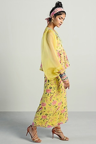 Yellow Printed Peplum Top With Pants by Rishi & Vibhuti Pret