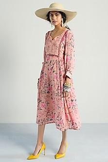 Peach Printed & Gathered Dress by Rishi & Vibhuti Pret