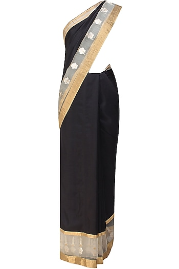 Black and gold flower motifs handwoven saree by Raw Mango