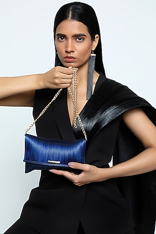 Blue Metal Wire Mini Pouch by Rimzim Dadu
