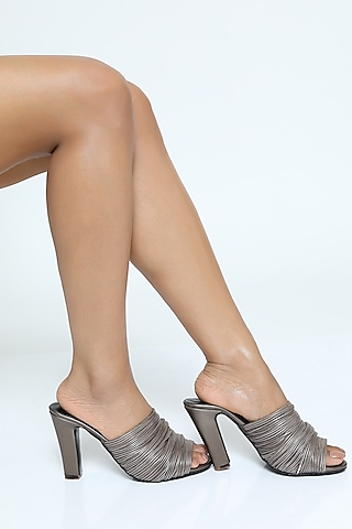 Silver Metallic Cord Mules With Block Heels by Rimzim Dadu