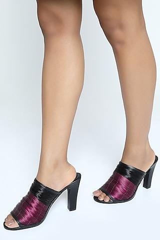 Pink & Black Metallic Yarn Mules With Block Heels by Rimzim Dadu