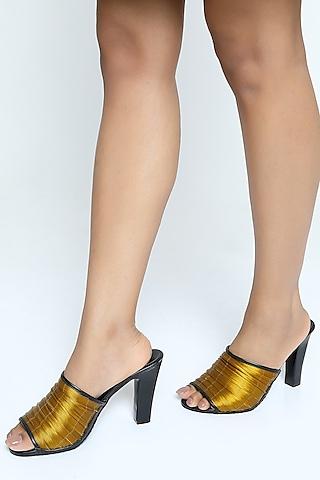 Golden Metallic Yarn Mules With Block Heels by Rimzim Dadu