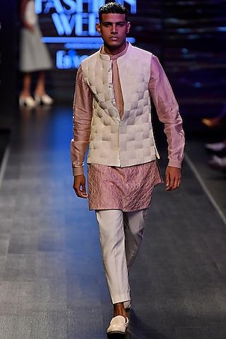 White Leather Nehru Jacket by Rimzim Dadu Men