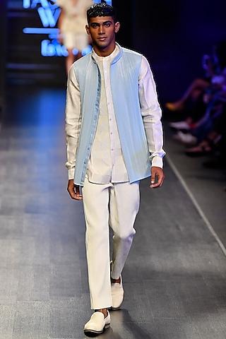 Powder Blue Metal Wire Nehru Jacket by Rimzim Dadu Men