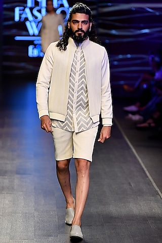 White Corded Bomber Jacket by Rimzim Dadu Men