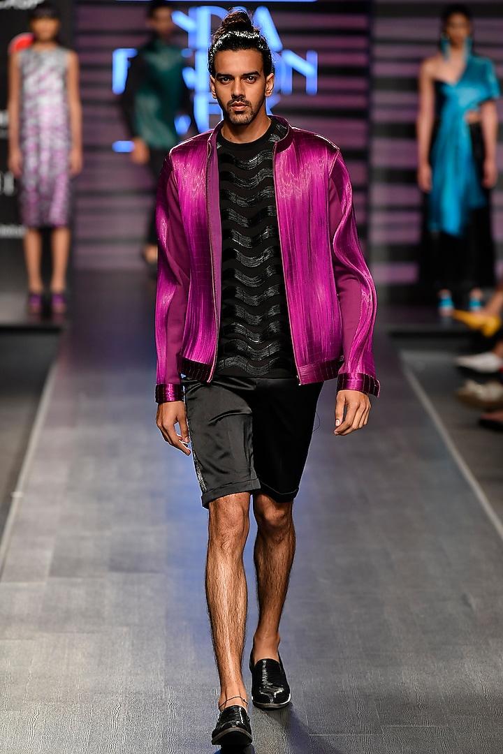 Purple Metal Wire Bomber Jacket by Rimzim Dadu Men