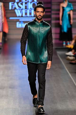 Green Metal Wire Nehru Jacket by Rimzim Dadu Men