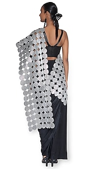 Silver & Black Pre-Draped Saree Set by Rimzim Dadu