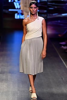 Off White Draped Top With Skirt by Rimzim Dadu