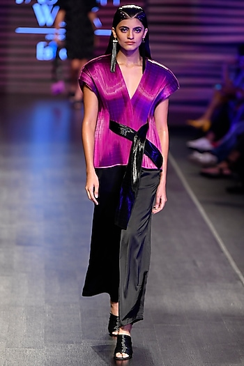 Purple Metal Wired Cape With Pants by Rimzim Dadu