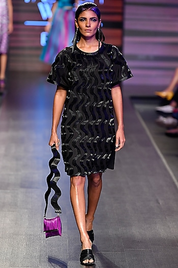 Black Faux Leather Cord Dress by Rimzim Dadu