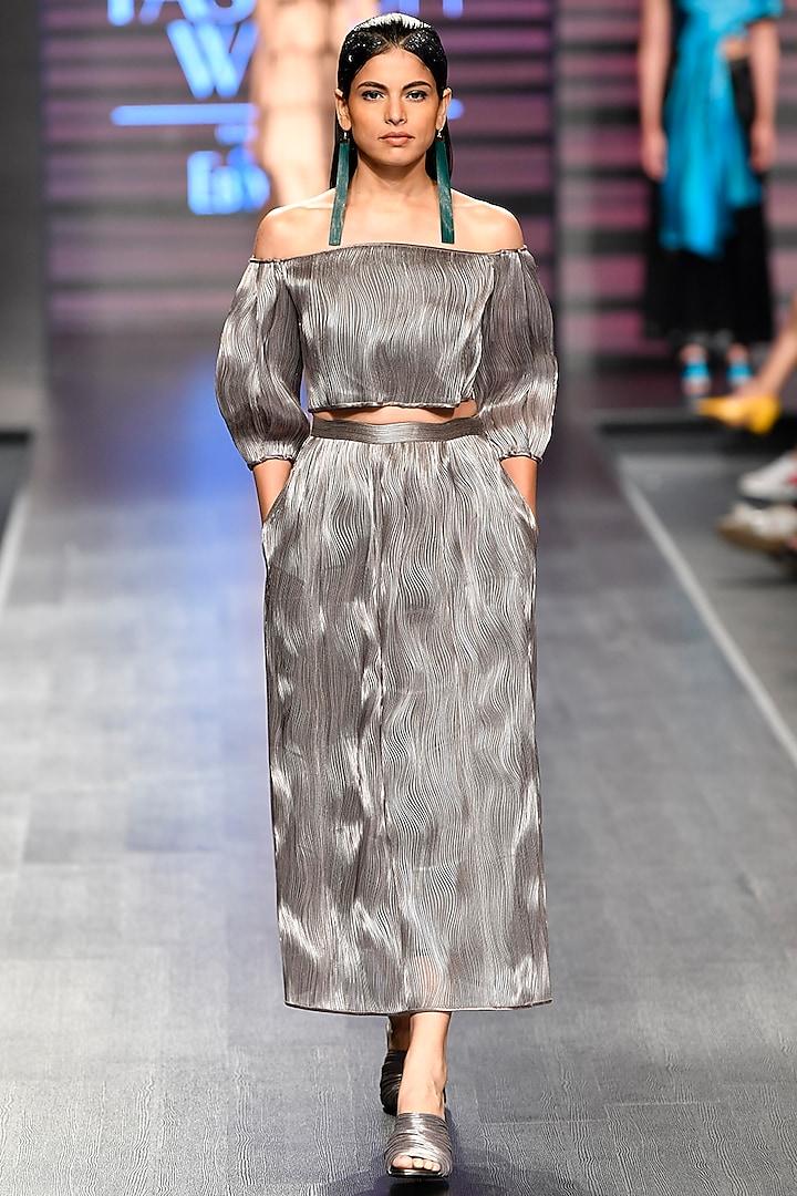 Gunmetal Off Shoulder Top With Skirt by Rimzim Dadu
