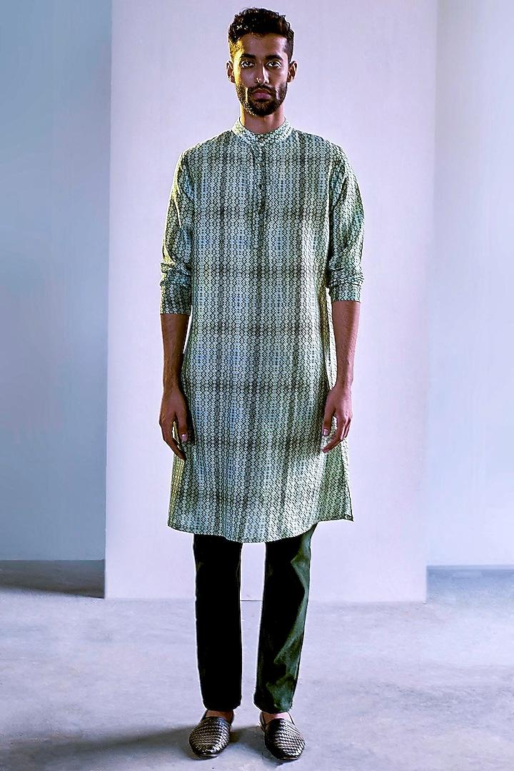 Green Printed Handcrafted Kurta by Saksham and Neharicka Men