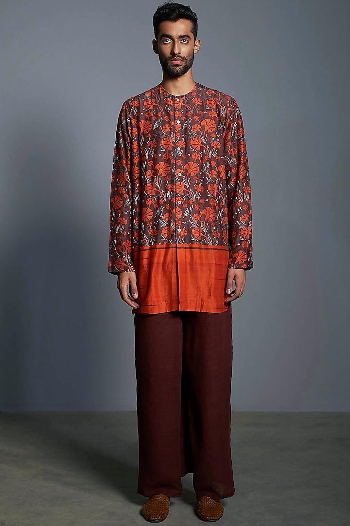Brown & Orange Printed Handcrafted Kurta by Saksham and Neharicka Men