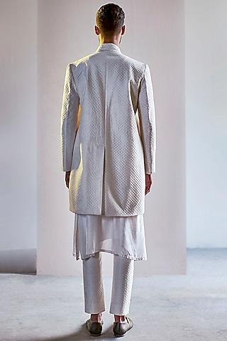 Ivory Handcrafted Long Bandhgala Jacket Set by Saksham and Neharicka Men