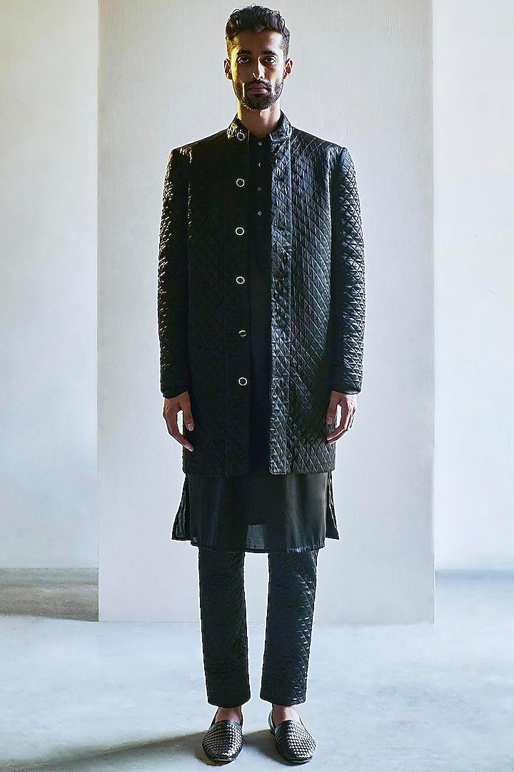 Black Handcrafted Long Bandhgala Jacket Set by Saksham and Neharicka Men