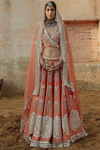 Coral Hand Embroidered Lehenga Set by Saksham and Neharicka