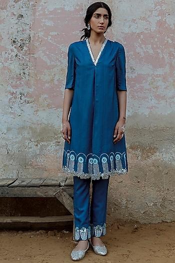 Blue Hand Embroidered Kurta With Pant by Saksham and Neharicka