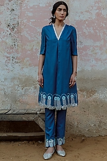 Blue Hand Embroidered Kurta With Pant by Saksham and Neharicka