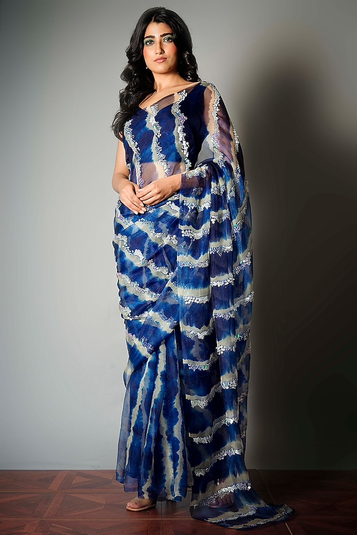 Blue Tie-Dye Saree With Attached Blouse Piece by Saksham and Neharicka