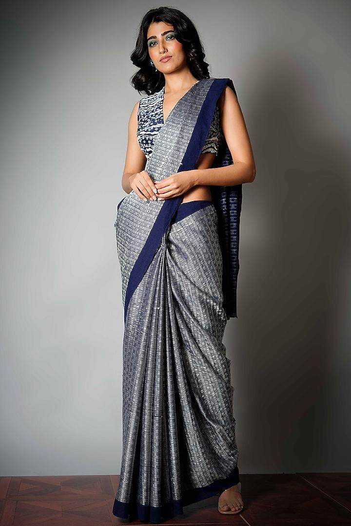 Indigo & Ivory Saree With Attached Blouse Piece by Saksham and Neharicka