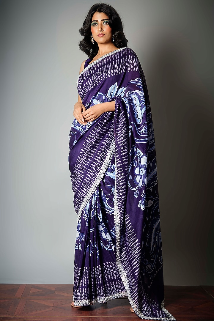 Ink Blue Saree With Attached Blouse Piece by Saksham and Neharicka
