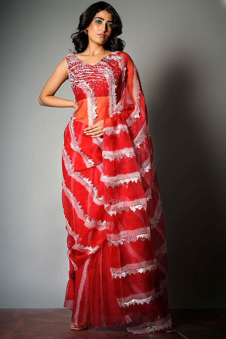 Red Tie-Dye Saree With Attached Blouse Piece by Saksham and Neharicka