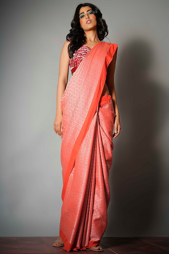 Red Silk Saree With Attached Blouse Piece by Saksham and Neharicka
