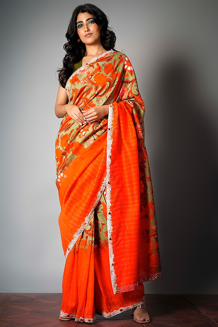 Red & Olive Green Saree With Attached Blouse Piece by Saksham and Neharicka