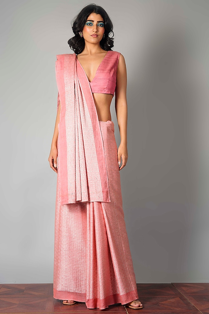 Pink Silk Dori Saree With Attached Blouse Piece by Saksham and Neharicka