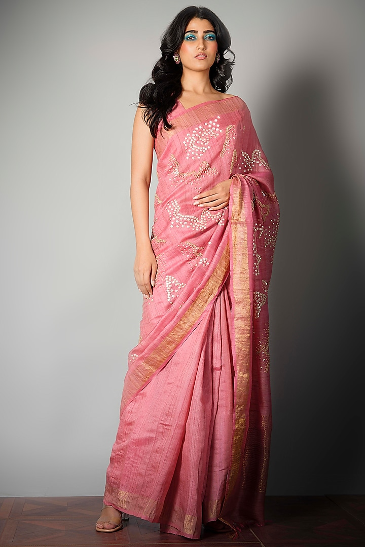 Pink Saree With Attached Blouse Piece by Saksham and Neharicka