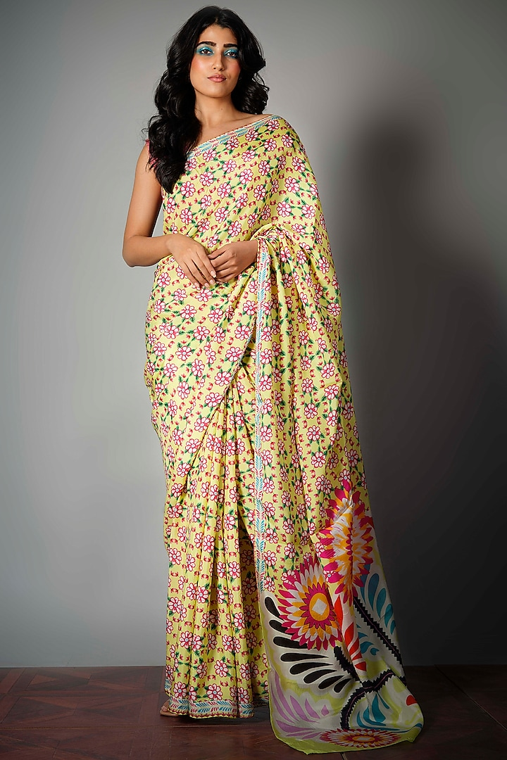 Lime Green Saree With Attached Blouse Piece by Saksham and Neharicka