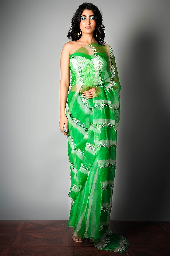 Green Saree With Attached Blouse Piece by Saksham and Neharicka